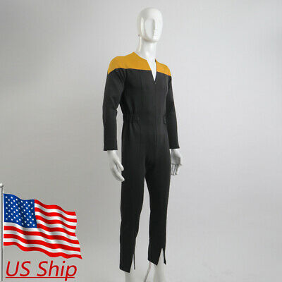 Star Trek Deep Space Nine Cosplay Gold Uniform Adult Male Jumpsuit Costumes New - Startrek Costume