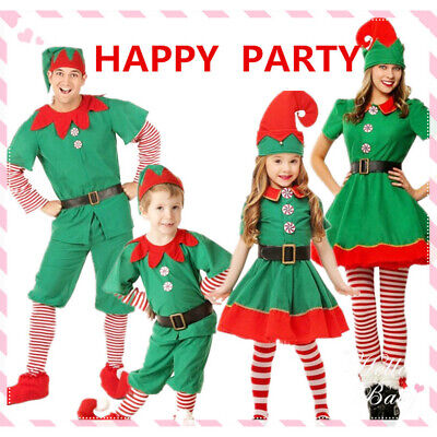 Elf Costume For Child (Christmas Cute Green Elf Cosplay Costume Suit For Family Parent-Child)