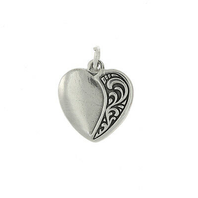 STERLING SILVER DECORATED HEART CHARM OR PENDANT