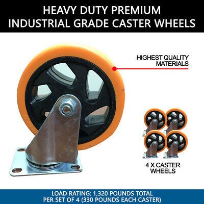 Set Of 4 Heavy Duty Premium 5 Industrial Grade Caster Wheels