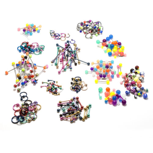 Eyebrow Nipple Tongue Belly Ring Nose Lip Industrial Barbell Wholesale Lot 232 p
