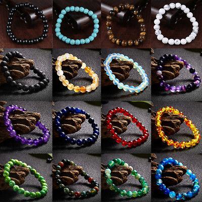 Stone Bead Bracelet Men Women Natural Tiger Eye Turquoise Bangle Jewelry -