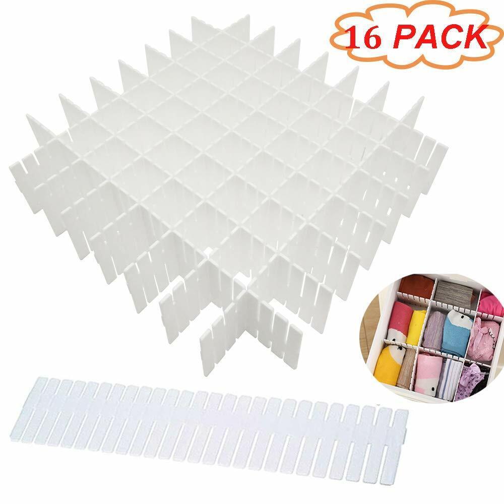 16 Pack White Plastic Adjustable Grid Drawer Dividers DIY St
