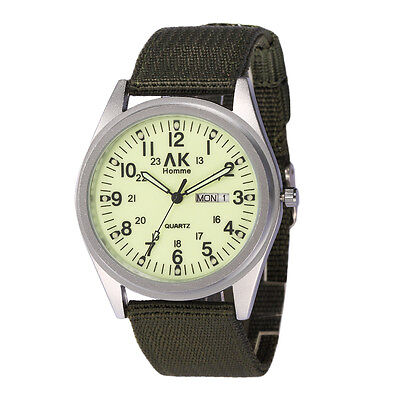 AK Military Night Vision Dial Date Day Green Nylon Men's Army Sport Watch W087