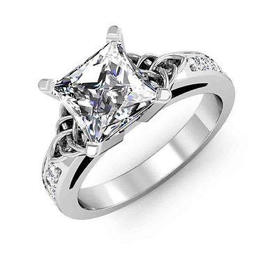 1.44ct Natural Princess cut Celtic Diamonds Engagement Ring SI1-H GIA Gold Plat
