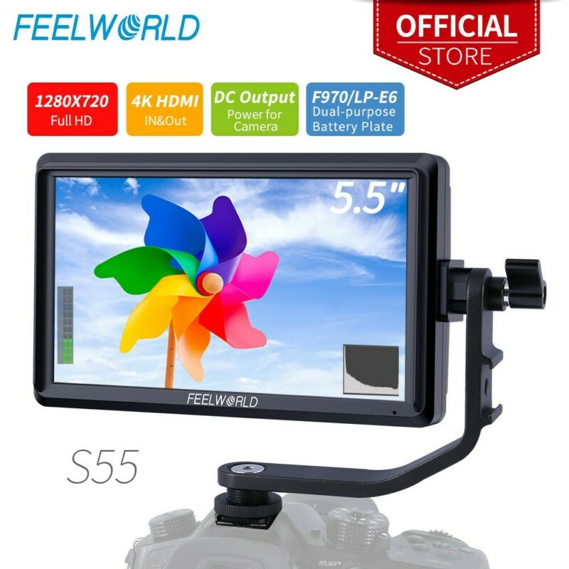 FEELWORLD S55 DSLR Monitor 4K HDMI External Display DC Out for Mirrorless Camera
