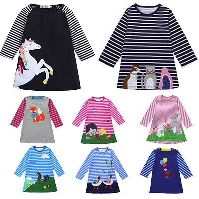 Toddler Girl Kid Spring Clothes Horse Stripe Print Princess Party  Dress Soft S9 (Toddler Girl Spring Clothes)