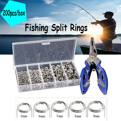 Practical 200PCS Stainless Steel 5 Size Fishing Split Ring Tackle Set with Plier