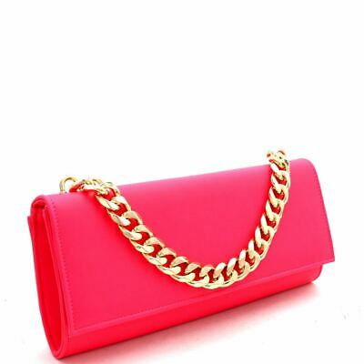 Chain Accent 2-Way Push-Lock Neon Clutch Shoulder (Accented Clutch Handbag)