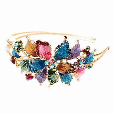 New Fashion big Flower design Crystal Rhinestone gold tone metal Headband - Big Headbands