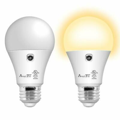 2Pack-Sensor Light Bulb Dusk to Dawn LED Smart Light Bulb For Outdoor Warm White