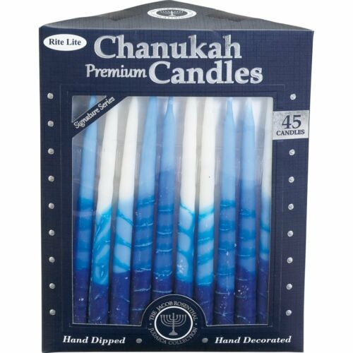 Rite-Lite Premium Chanukah Candles. Handcrafted, Blue/White Stripe. Box of 45