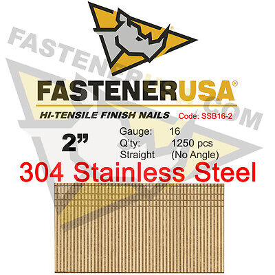 2 16 Gauge 304 Stainless Steel Straight Finish Nails 2 Inch 16 Ga 1250 Ct