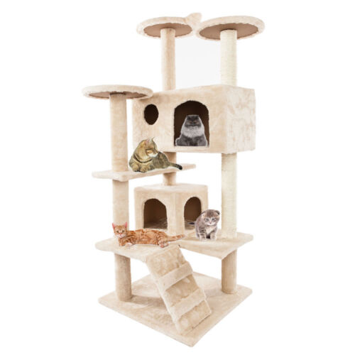 """52"""" Beige Pet Cat Tree Play House Tower Condo Bed Scratch Post Toy Play House"""