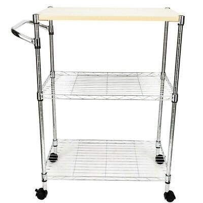 3-Tier Steel Rolling Kitchen Trolley Cart Storage Serving Island Utility Silver