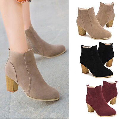 Fashion Women Ankle Boots Thick High Heel Fur Leather Party Winter Boots Shoes