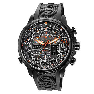 Citizen Men's Eco-Drive Navihawk Chronograph All Black Rubber Watch JY8035-04E