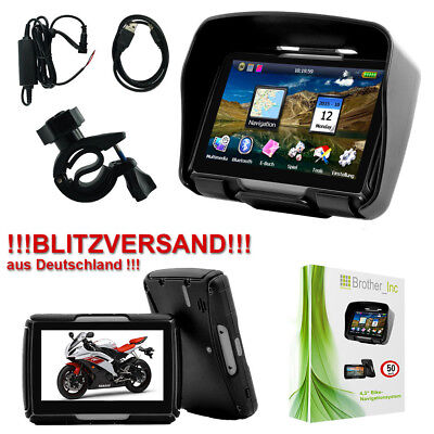 GPS Bluetooth Navigationsgerät Auto Motorrad Navigation Wasserdicht 8GB DE