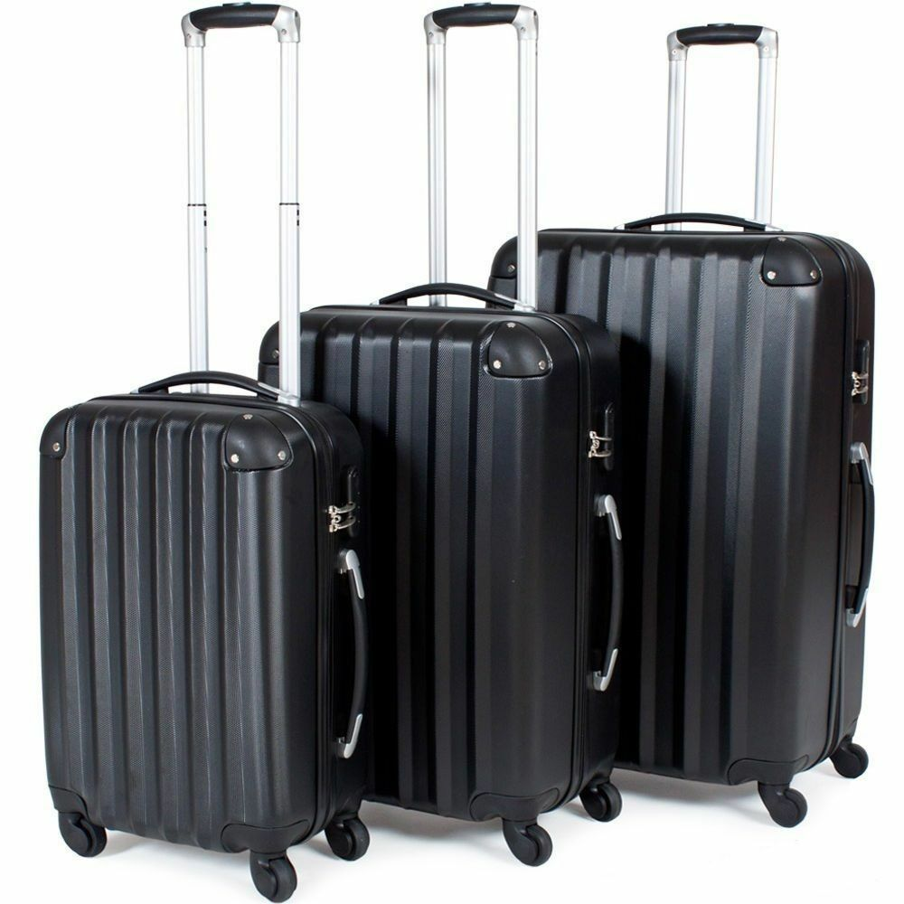Details about Hard Shell Suitcase 4 Wheel Luggage Trolley Cabin Carry On  Case MATTE BLACK aa20e99520dbe