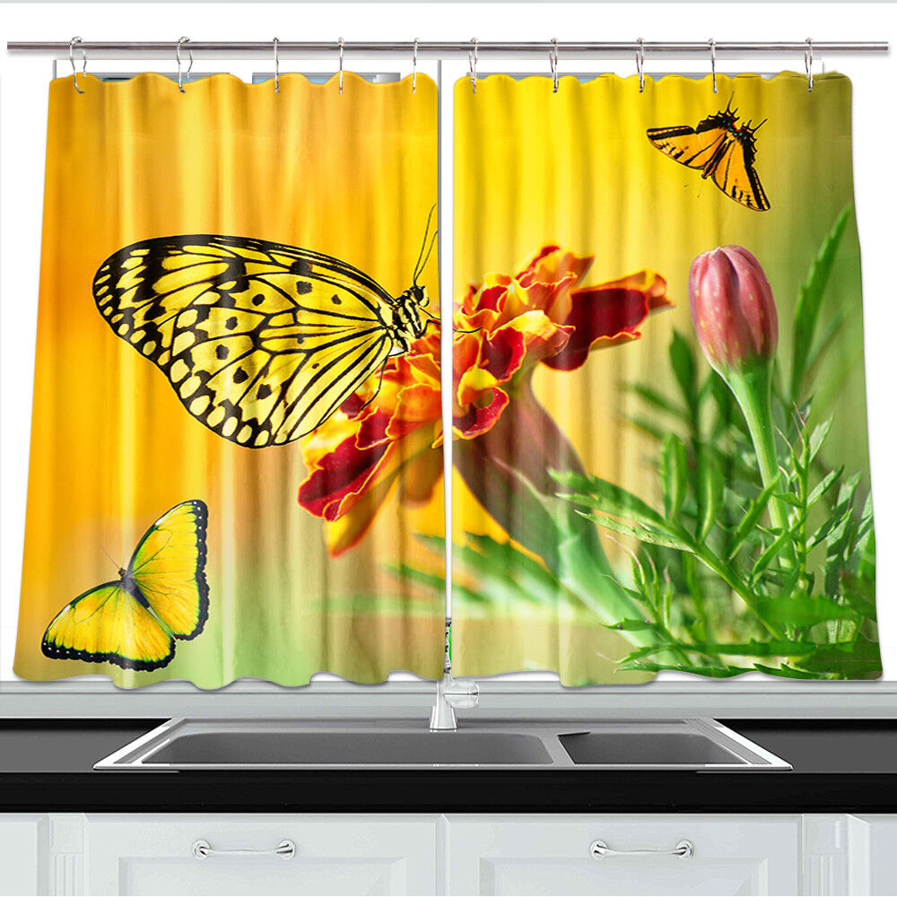 Yellow Butterfly and Marigold Window Treatments for Kitchen