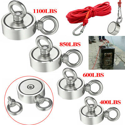 1100lbs Big Fishing Magnet Kit Pulling Force Strong Neodymium 850lbs600400lbs