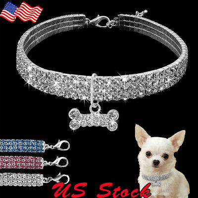 Puppy Necklace (Crystal Dog Necklace Collar Rhinestone Jeweled Puppy Necklace Diamante Pets)