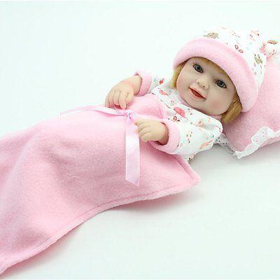 Lifelike Baby Dolls Full Vinyl Silicone Girl Doll Handmade Newborn Babies+Cradle