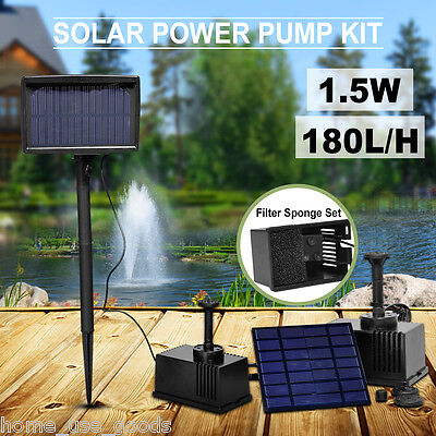 Solar Panel Powered Fountain Garden Pool Pond Submersible Water Pump Features UK