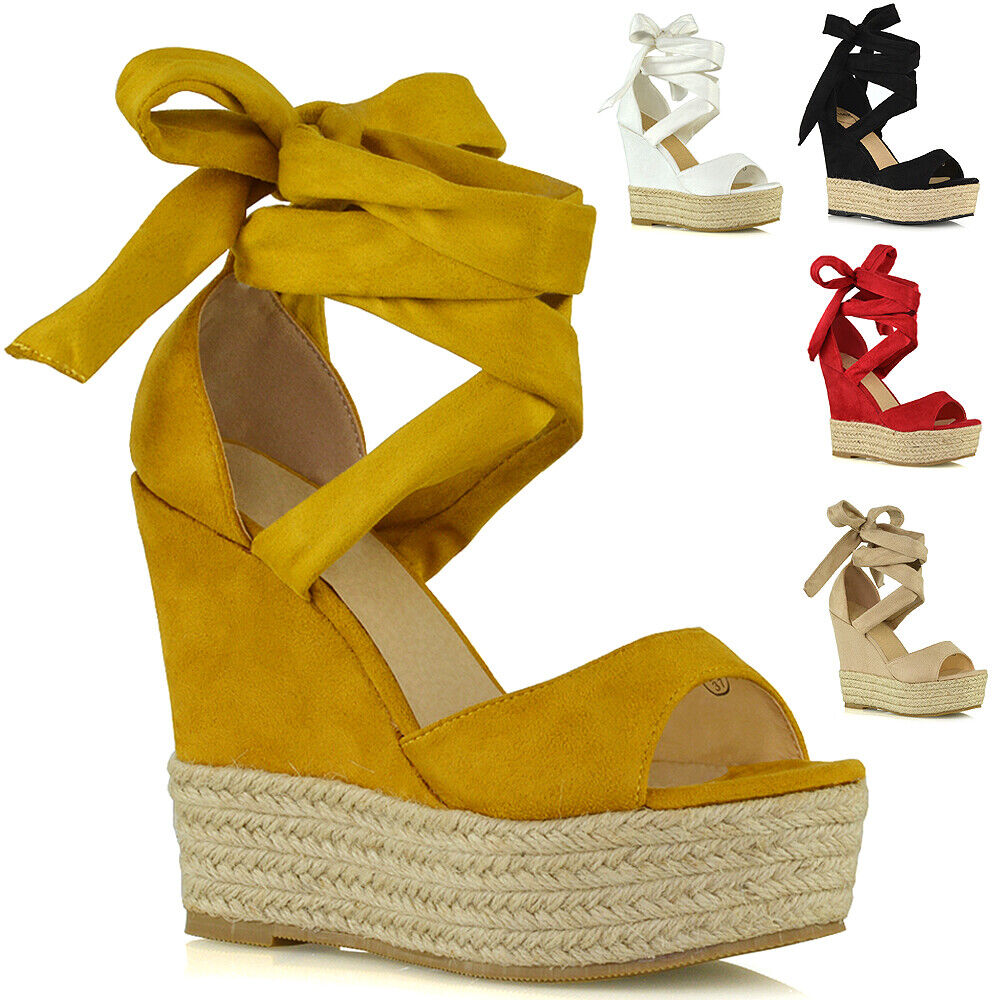 Womens High Heel Wedge Sandals Ladies Strappy Lace Up Platfo