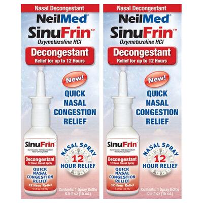 2 Pack - NeilMed SinuFrin Nasal Decongestant Spray 15mL (0.5fl oz) Each