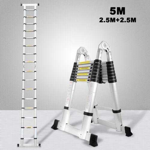 5m Teleskopleiter Klappleiter Stehleiter Ausziehleiter Tragegriff Anlegeleiter