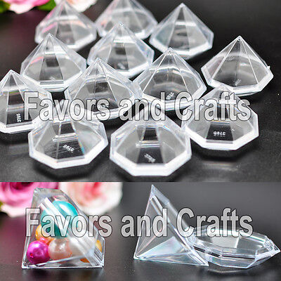 12 Fillable Plastic Diamonds Clear Wedding Favors Quinceanera Baby Shower Gifts
