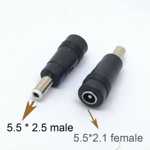 5.5mm x 2.5mm Male Plug to 5.5mm x 2.1mm female Jack DC Power Adapter