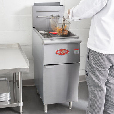 50 Lb. Commercial Restaurant Natural Gas Stainless Steel Floor Deep Fryer