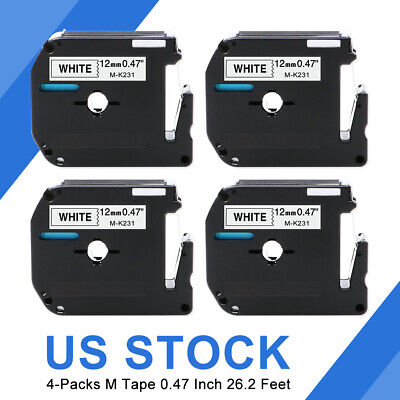 4 Pk M-k231 Mk-231 Label Tape Compatible With Brother P-touch Label Maker 12mm.