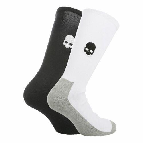 Hydrogen Tennis Socks Skull 2 Pairs NEW Black White HTF Mid Calf UNISEX