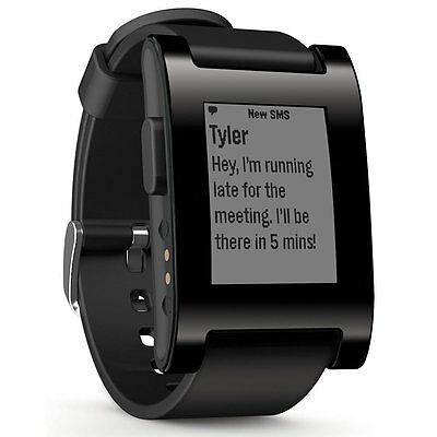 Pebble Smart Watch for Iphone & Android, Black, with Silicone Strap