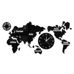 World Map Modern Wall Clock Silent Non Ticking Wall Watch  Office Geography Art