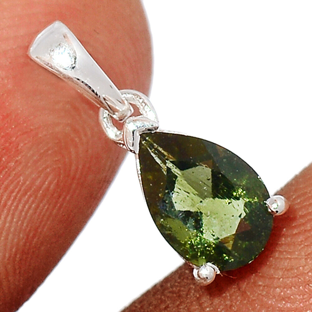 Faceted Moldavite 925 Sterling Silver Pendant Jewelry BP101908 - $29.99