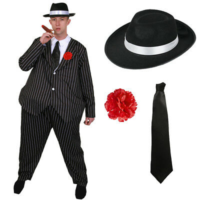 MENS FAT GANGSTER COSTUME HAT TIE 1920'S FANCY DRESS NOVELTY AL CAPONE OUTFIT](1920 Outfit)