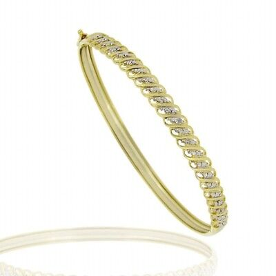 18k Gold over Silver Diamond Accented Bangle Bracelet