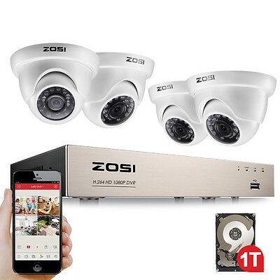 ZOSI 4CH 1080p DVR 2MP Outdoor Home Security Camera System with Hard Drive 1TB