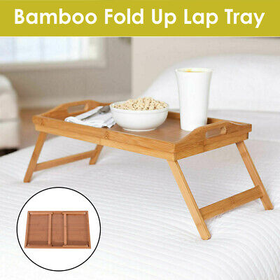 Bamboo Folding Table Bed Laptop Desk Dinner Coffee Tea TV Tray Stand For Picnic