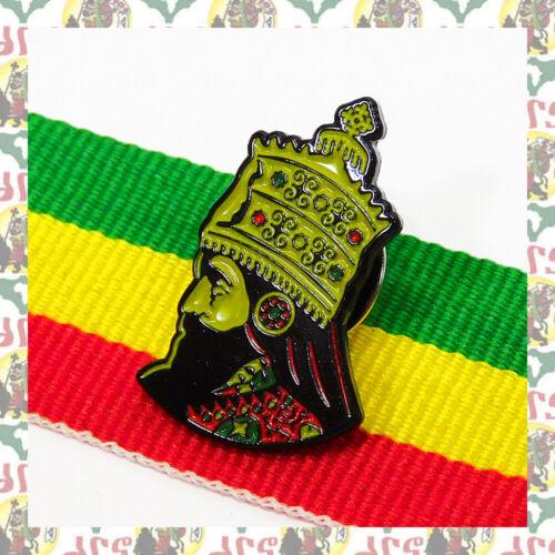 H.I.M Haile Selassie I [drs] 2D Pins Badge Reggae Ethiopia  Lion of Judah