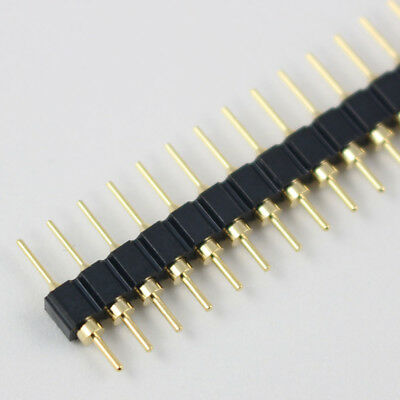 10pcs Gold Plated 2.54mm Male 40 Pin Single Row Straight Round Pin Header Strip