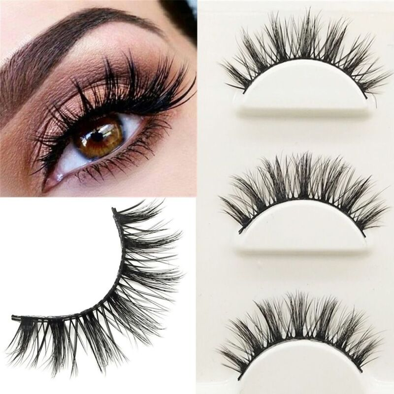 3 Pairs SK 3D Mink False Eyelashes Wispy Cross Lashes Fluffy