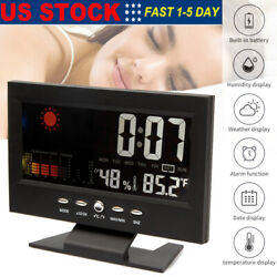 Digital Alarm Clock Snooze Calendar LED Display Weather Thermometer Hygrometer