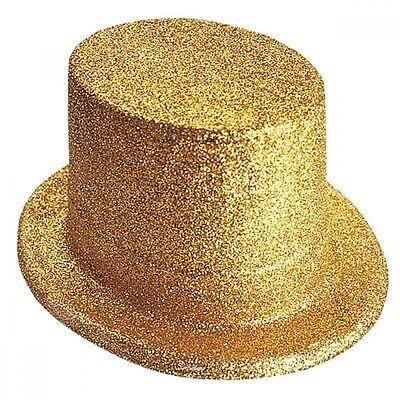 Gold Plastic Glitter Top Hat - Fancy Dress - Tap Dance Costume (Gold Glitter Top Hat)