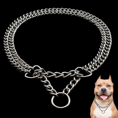 Martingale Dog Chain Collars 2 Rows Chrome Plated Dog Training Show Collar US Show Dog Collar