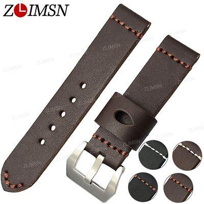 22mm 24mm Genuine Leather Watch Band Strap Brown White Line Belt Steel Buckle